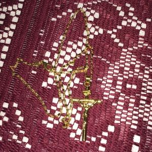 """Jewelry - Stamped 14kt Gold Filled 18"""" cross pendant chain"""